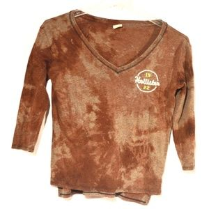 Upcycle Hollister Brown Tie Dye Shirt Cotton Small